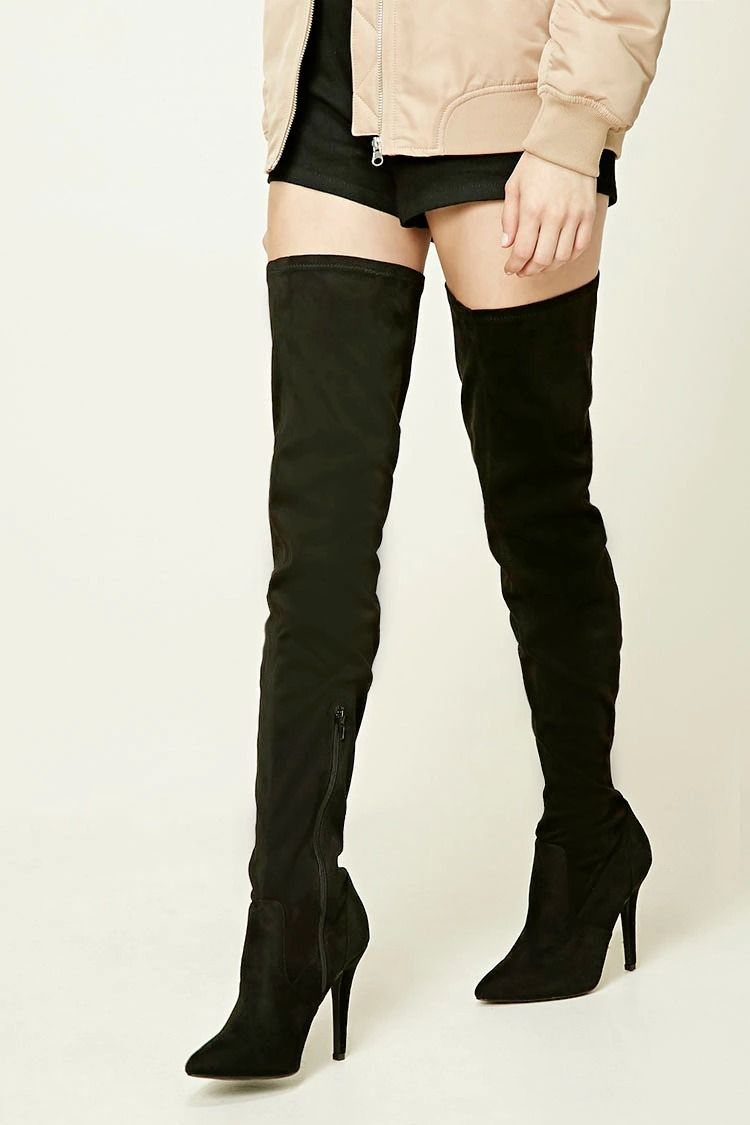 d2f2796d223 A pair of faux suede thigh-high boots featuring a pointy toe ...