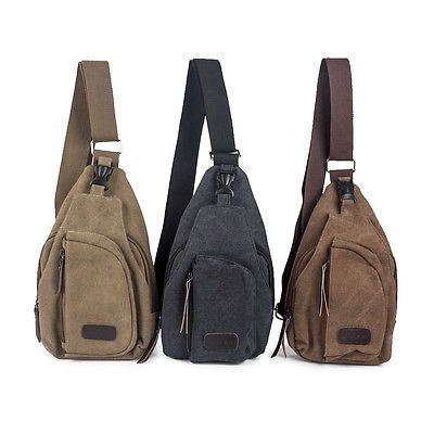 Men Women Canvas Casual Hiking Bicycle Crossbody Chest Bag ...