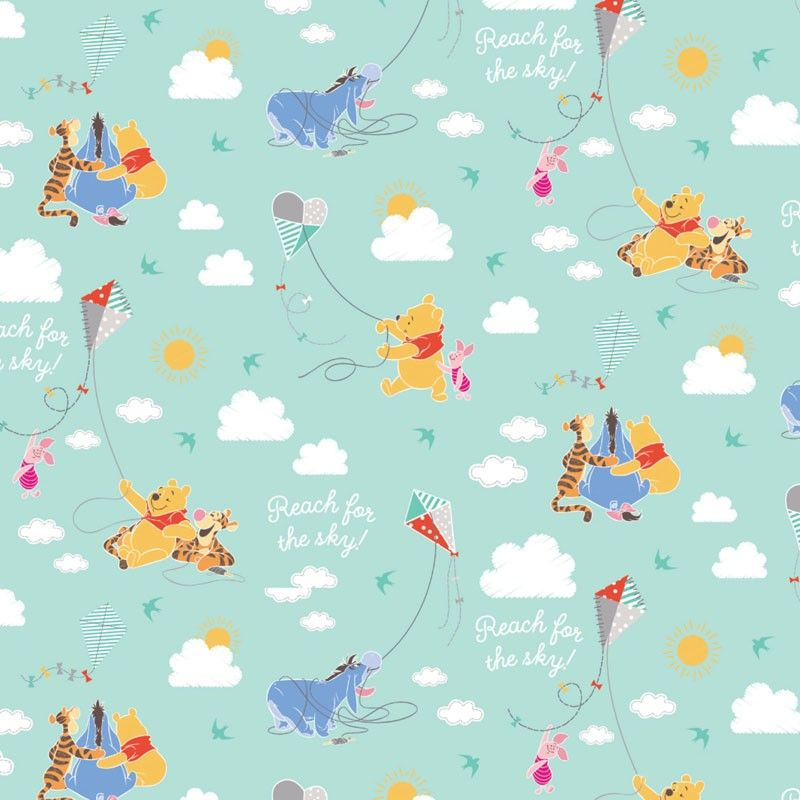 Winnie The Pooh A Good Kite Flying Day Mint Green