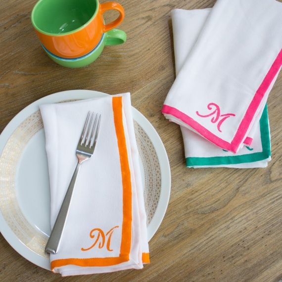 Mother's Day Gift: Monogrammed Napkins  Treat your mom to a special set of personalized cloth napkins stenciled in her favorite colors!