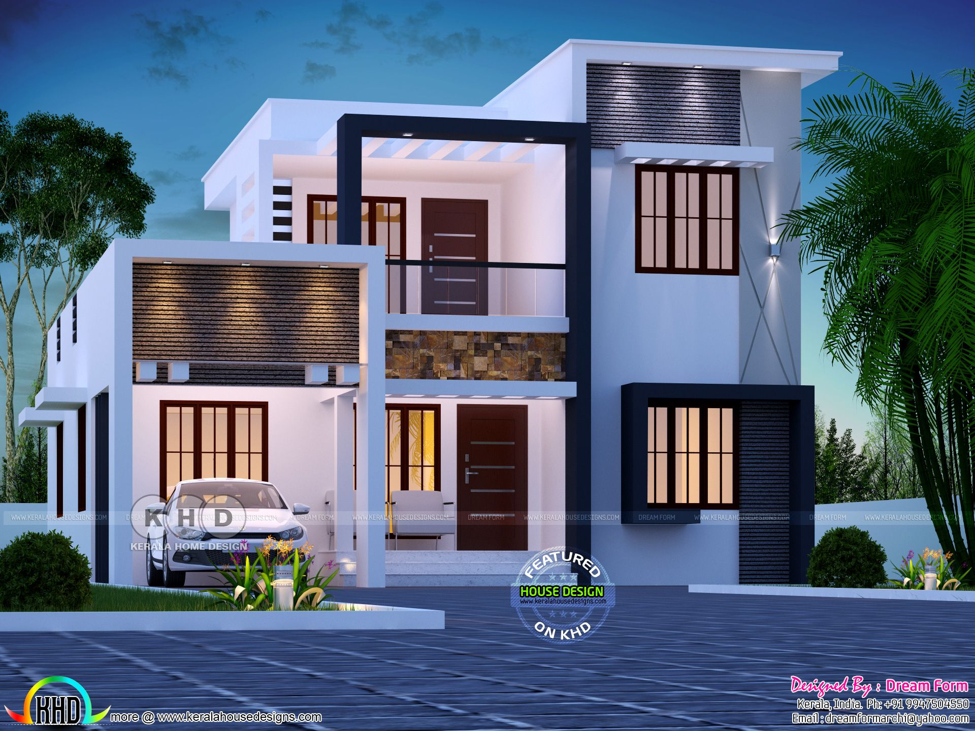 Step Roof Home In 1800 Square Feet Kerala House Design Duplex House Design New House Plans