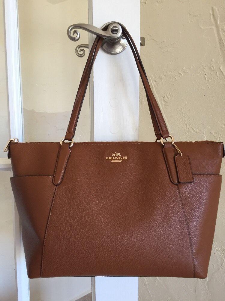 Coach F37216 Pebble Leather Ava II Tote Shoulder Bag Saddle  06f74d158327f