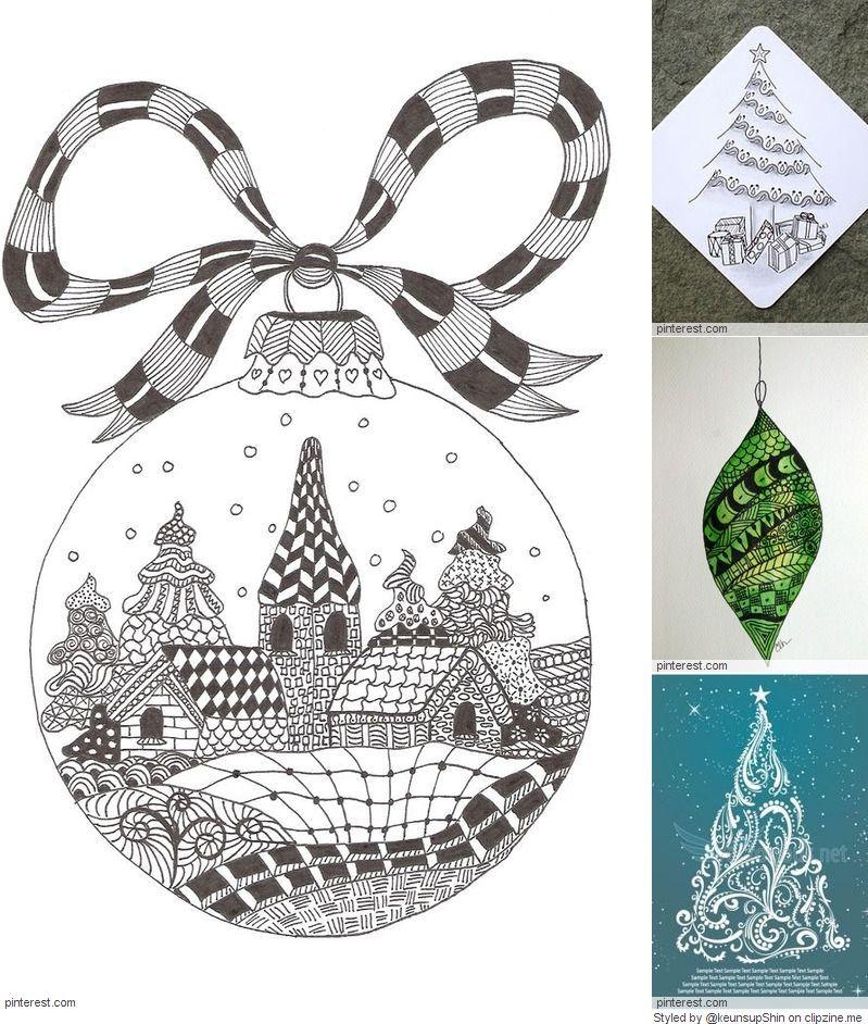Christmas Zentangle Patterns Zentangle Patterns Zentangle Artwork Christmas Drawing
