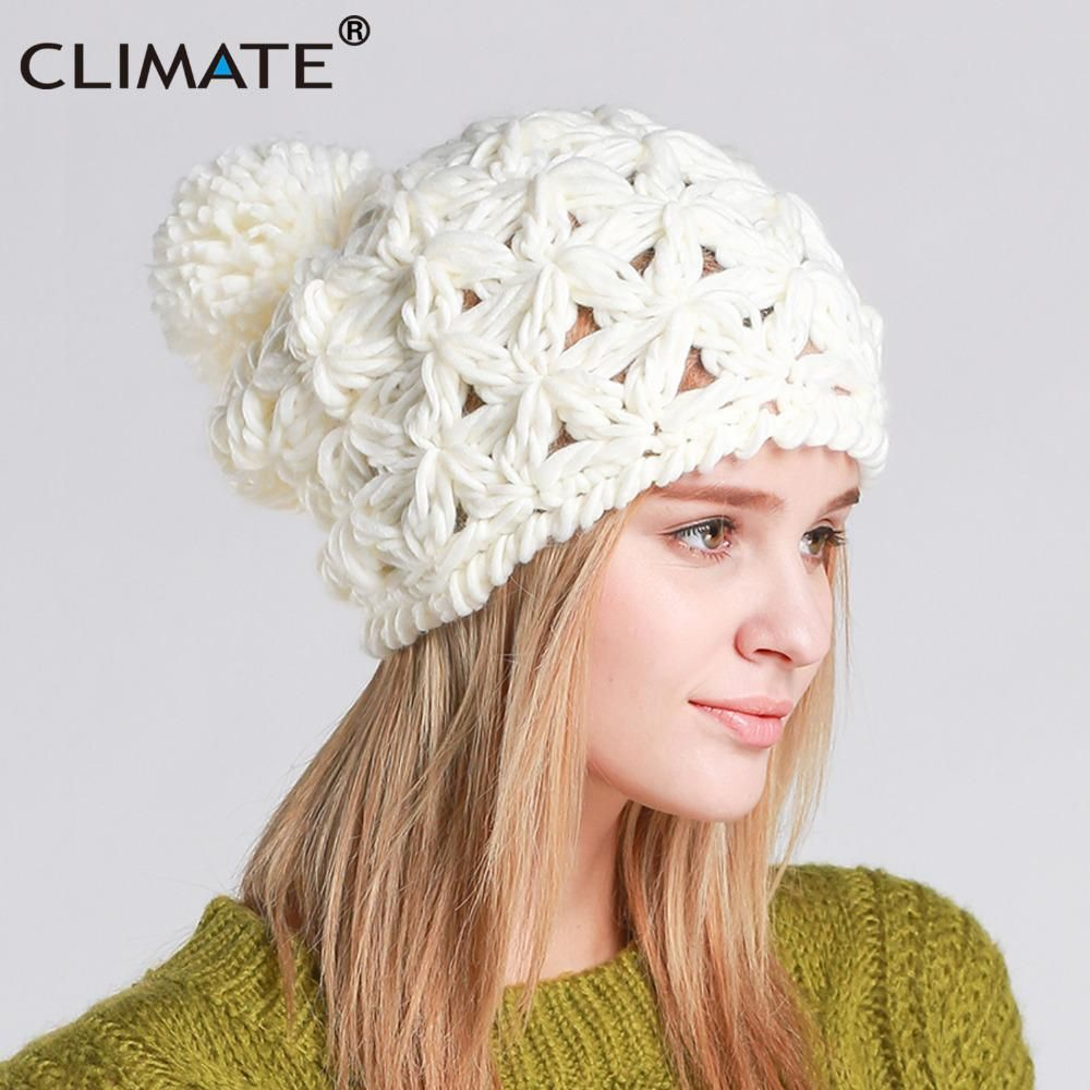 97aed3177de CLIMATE Women Girl Winter Warm Pompon Beanie Hat Pierced Knitted Hat Beanie  Women Cute Nice Pompon Warm Beanie For Women Girls. Yesterday s price  US   14.00 ...