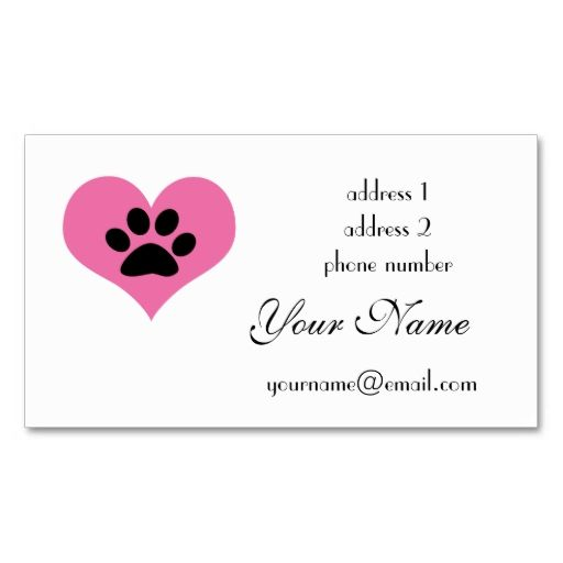 Paw Print Heart Business Card Zazzle Com Paw Print Customizable Business Cards Business Cards