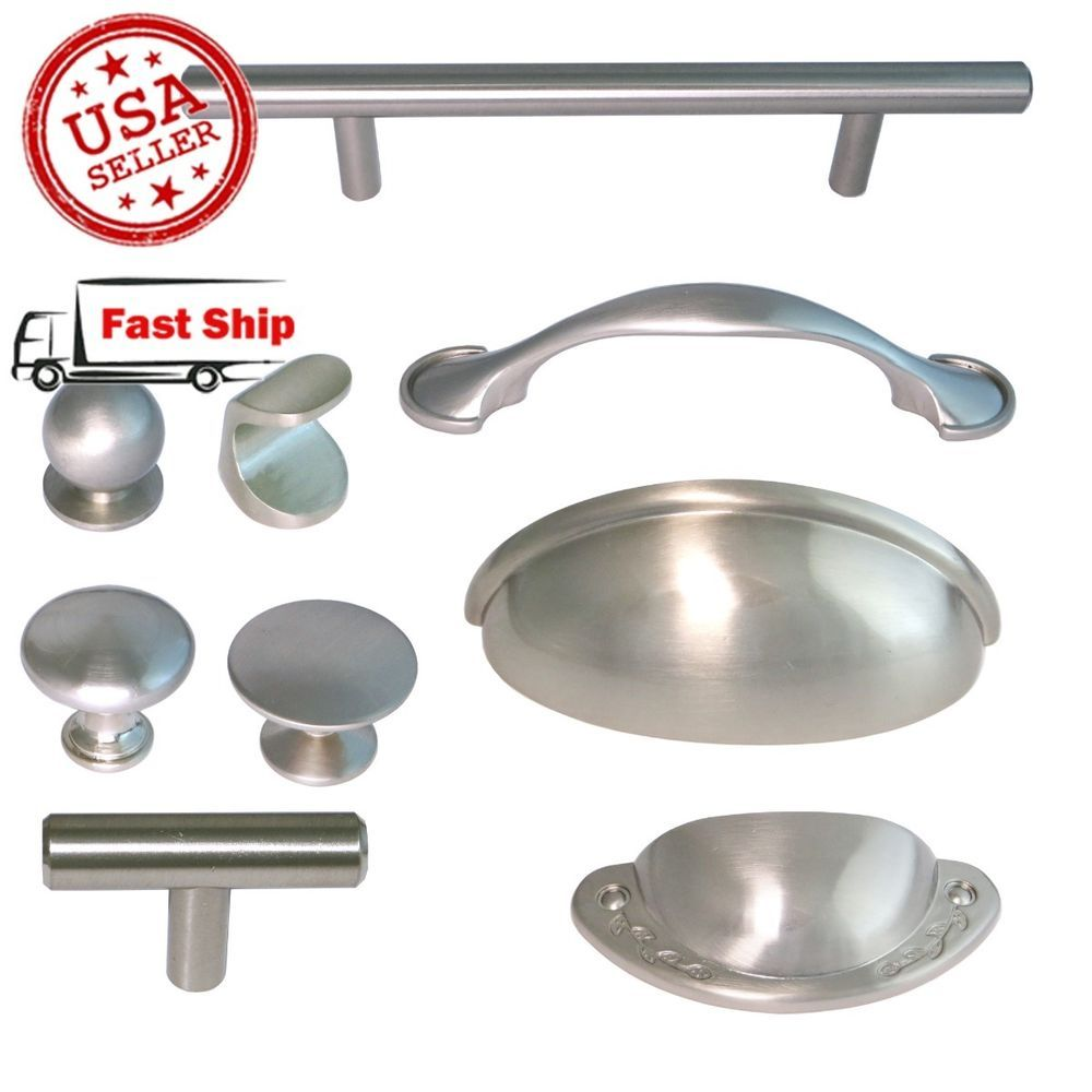 Brushed Satin Nickel Kitchen Hardware Cabinet Drawer Handles Cup Pulls Knobs