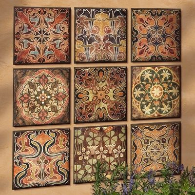 Arte Mediterranean Tiles Wall Collage Set Of 9 Tuscan Wall Decor Tuscan Tile Distressed Wood Wall Decor
