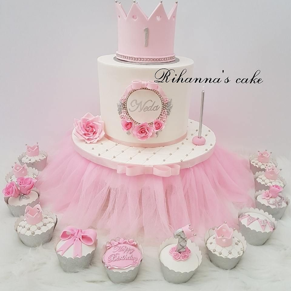 Princes Crown First Birthday Cake With Cupcakes And Cakepops