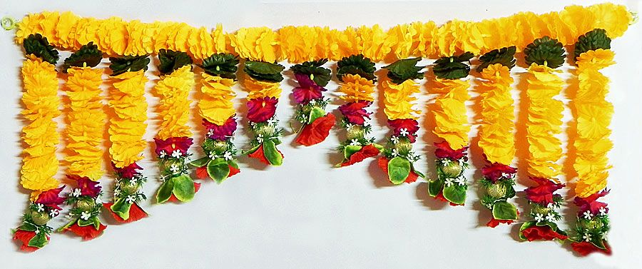 Cloth Flower Door Toran - (Decorative Door Hanging) (Beads and Ribbon)) & Cloth Flower Door Toran - (Decorative Door Hanging) (Beads and ...