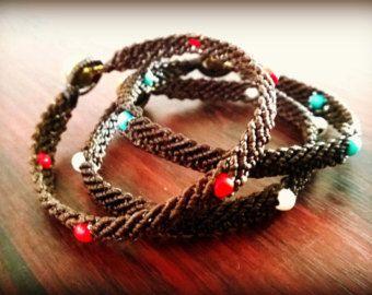 Bohemian Style Bracelets | Boho Wrist Bands | Red White Turquoise Stones | Macrame Braided Woven Men Women | Tribal Wedding | Thai Jewelry  http://www.bohemianstyleshop.etsy.com