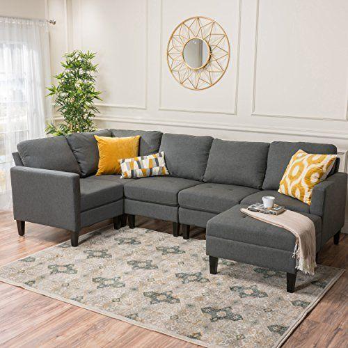 Amazon Com Carolina Light Grey Fabric Sectional Couch With Storage Ottoman Kitchen Fabric Sectional Sofas Couch With Ottoman