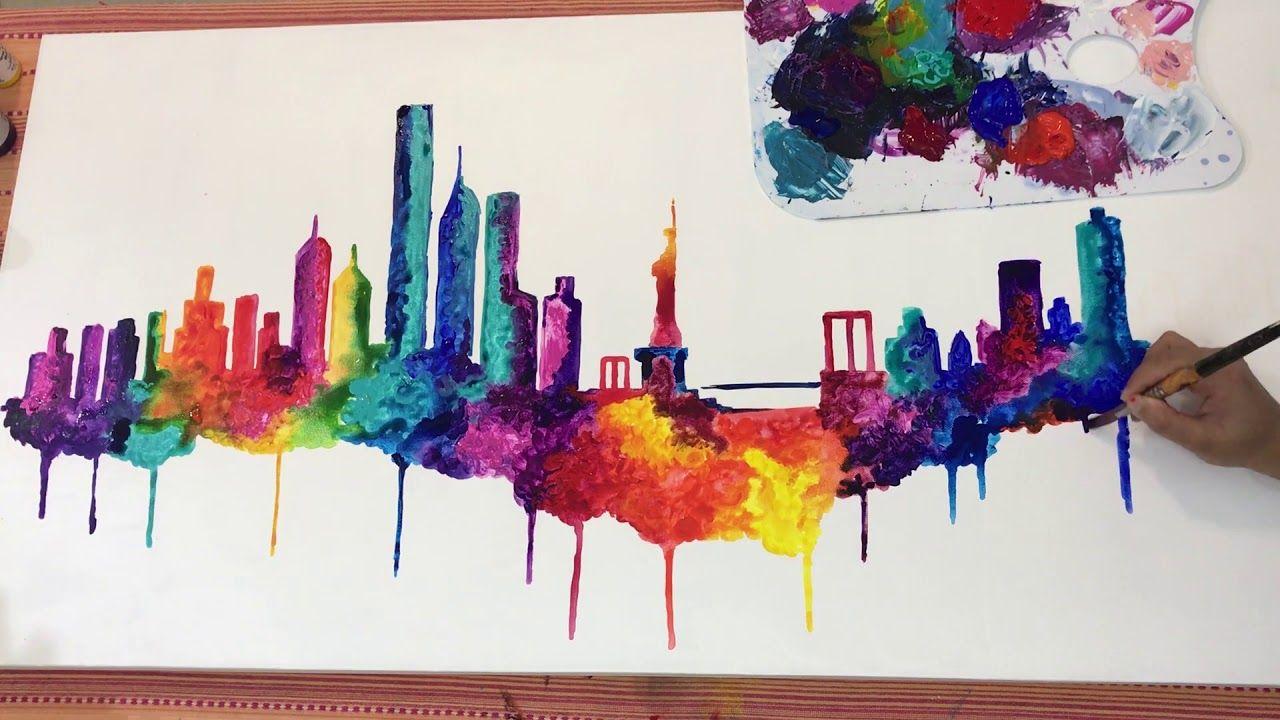 New York City Skyline Time Lapse Acrylic Painting By Nikki Youtube Etsy Art Art Tutorials Painting