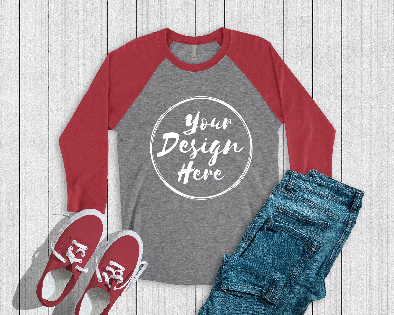 Download Next Level 6051 Red Premium Heather Unisex Baseball T Shirt Etsy Shirt Mockup Clothing Mockup Mockup Free Psd
