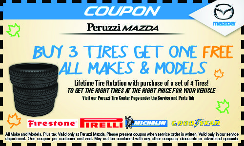 Buy 3 Tires Get One Free All Makes Models Service 855 315 7601 Http Www Peruzzimazda Com Specials Service Htm Our Bu Get One Service How To Get