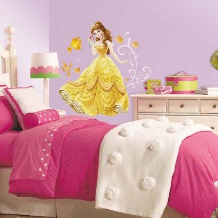 Princess Belle Room Decor Extraordinary Princess Belle Giant Wall Decals With Glitter  Roommates Decor Design Decoration