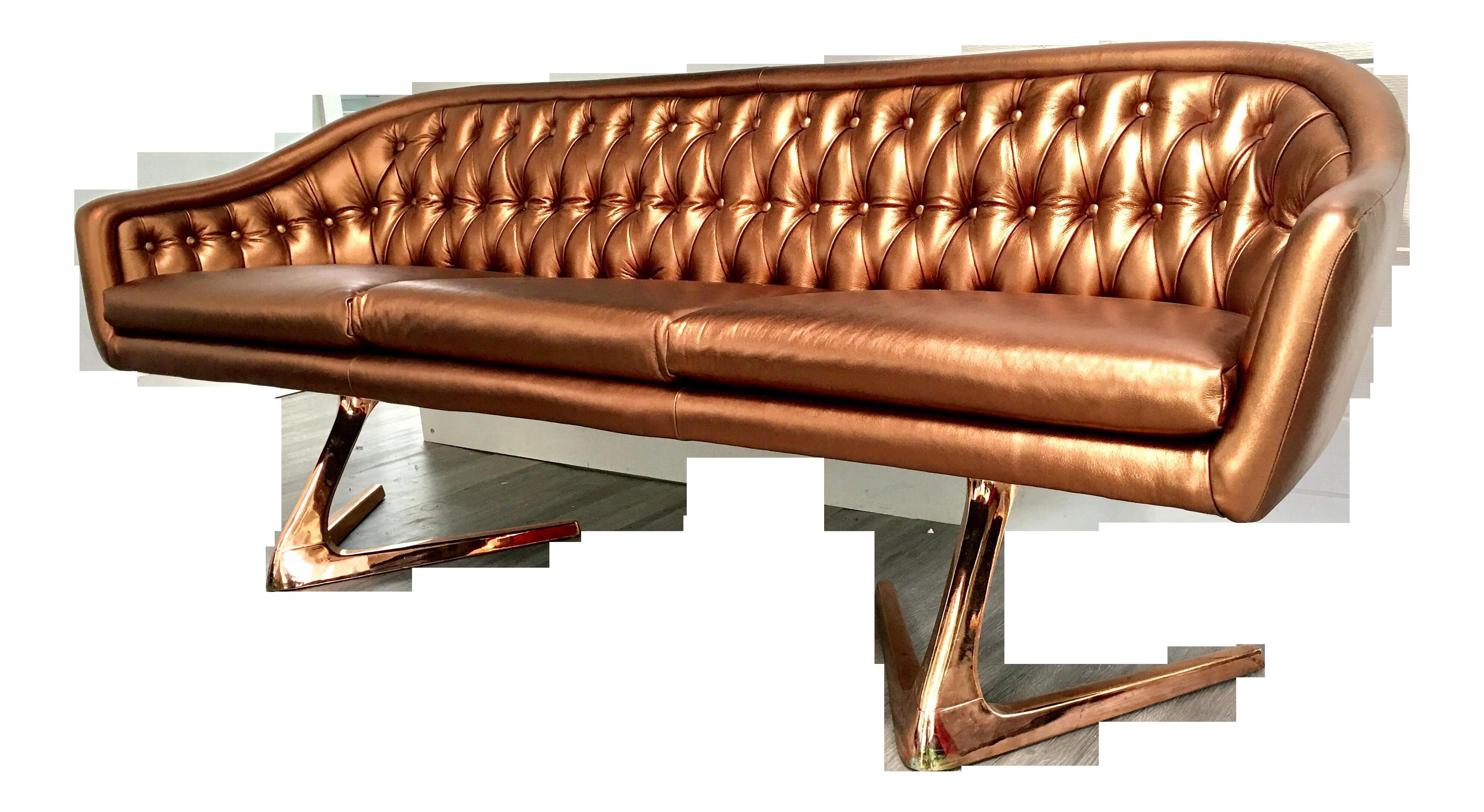 Copper Rose Gold Chromcraft Sculpta Sofa | Pinterest