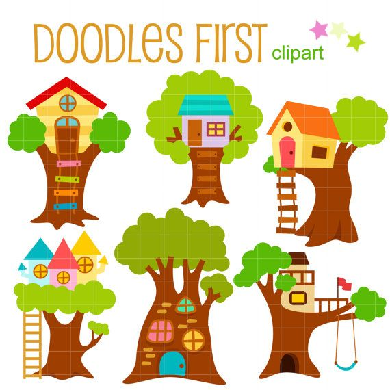 Cute Tree Houses Digital Clip Art for Scrapbooking Card ...