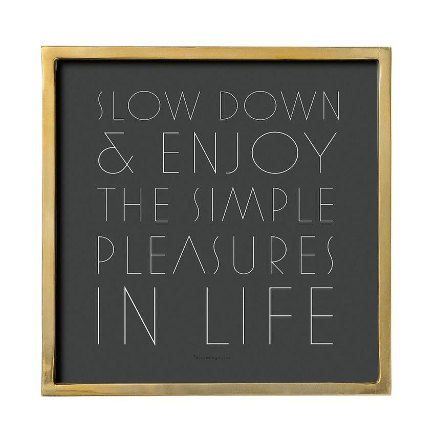 """Square MDF Framed Glass """"Slow Down """" Wall Decor in Gold"""