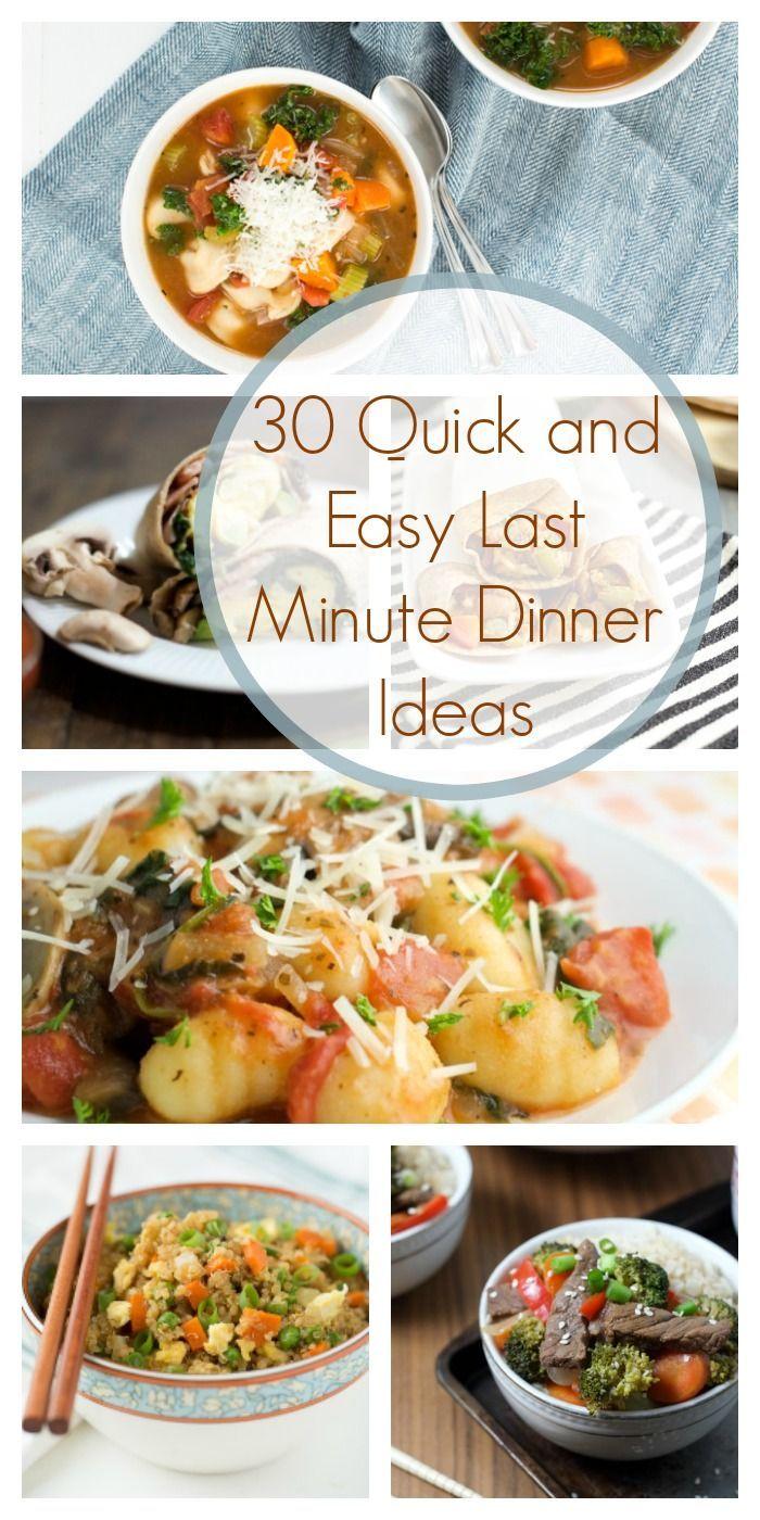 30 Last Minute Dinner Ideas with Printable calendar!