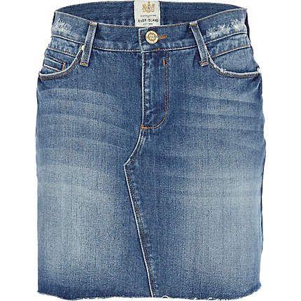 Mid wash denim skirt - skirts - sale - women