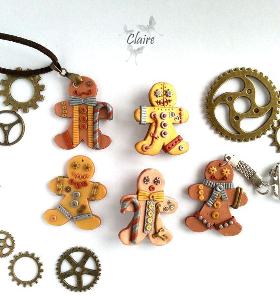 steampunk gingerbread man steampunk christmas jewelry charm brooch pendant necklace. Black Bedroom Furniture Sets. Home Design Ideas