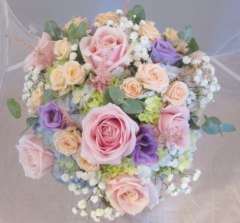 Pastel Handtied Bouquet Of Hydrangea, Roses, Lisianthus
