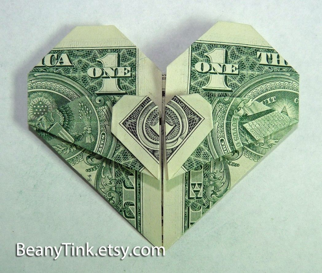 Heart Dollar Bill Origami Embroidery Origami Dollar Origami Money Origami Heart Dollar Bill Origami
