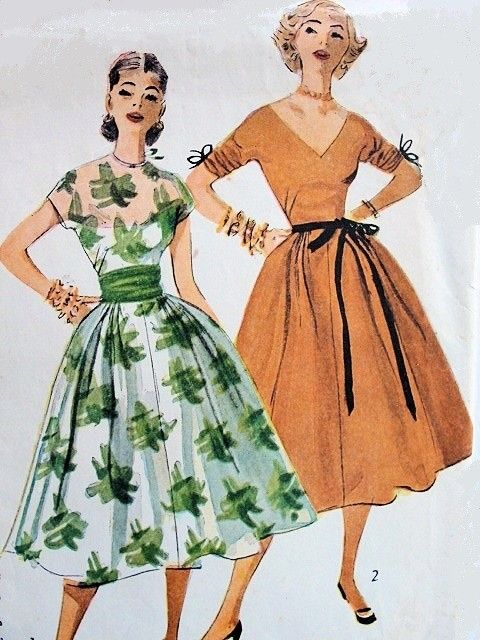 485777ea 1950s Simplicity 4294 Dress Pattern Lovely Audrey Hepburn Full Skirt Party  Evening Dress and Cummberbund Two Bodice Styles Includes V Neckline Bust 30  ...