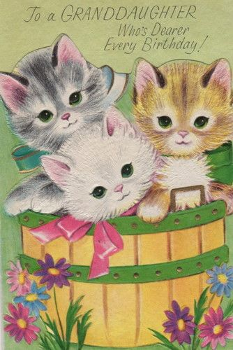 Vintage Birthday Card Kittens More CatsBirthday WishesHappy