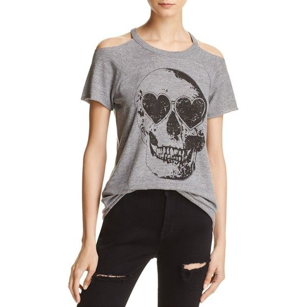 8de20e366a77a Chaser Cold-Shoulder Skull Tee ( 65) ❤ liked on Polyvore featuring tops
