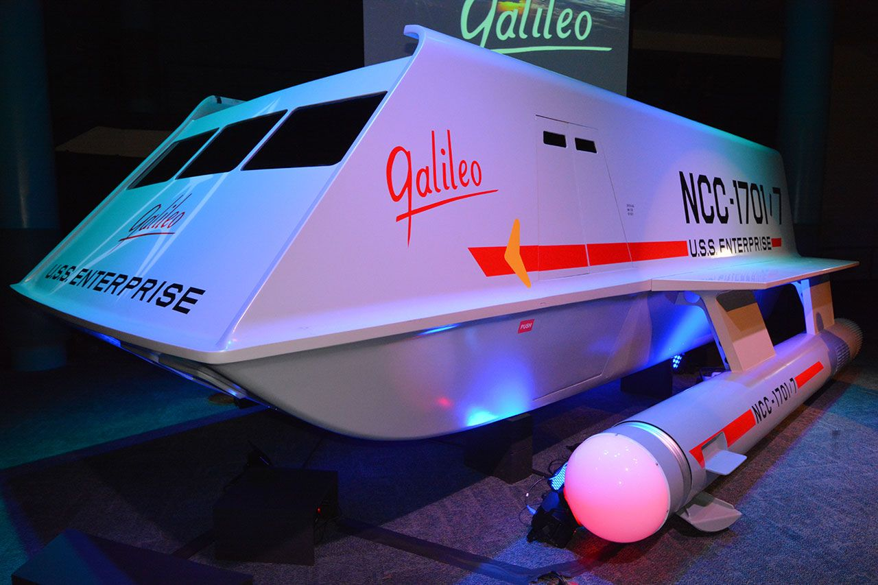 """The newly-unveiled """"Star Trek"""" Galileo shuttlecraft prop as seen on display at Space Center Houston in Texas, July 31, 2013.  Credit: SPACE.com/Robert Z. Pearlman"""
