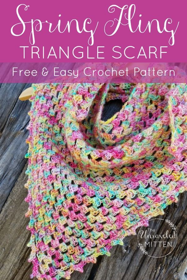 Spring Fling Triangle Shawl Crochet Pattern Free | The Unraveled Mitten - Diy Crafts