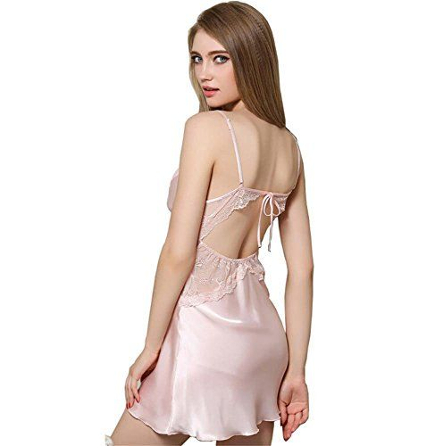 Danyer Womens Nightshirt Summer Sexy Slip Silky Nightdress Sleepwear XLUS L  Light Pink     Learn more by visiting the image link. c451218f1