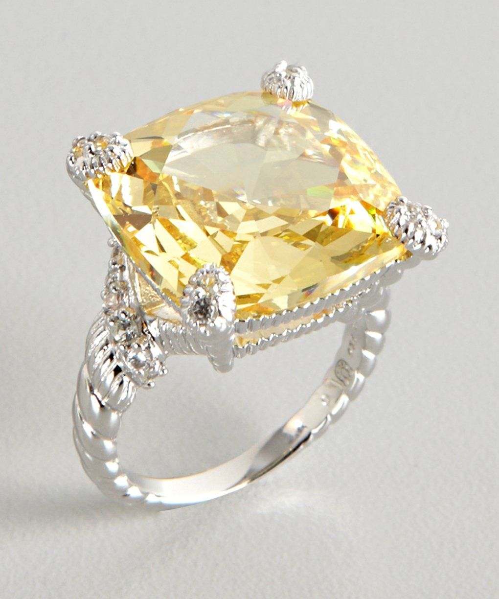 Judith Ripka Canary Crystal And White Sapphire Wrapped Ring Natural Golden Orange Citrine 13ct Bluefly