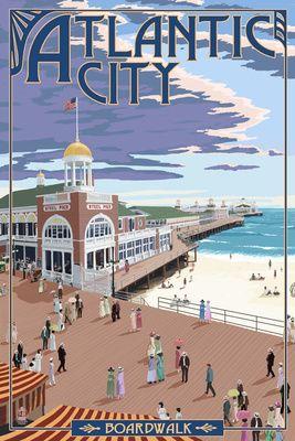Atlantic City New Jersey Boardwalk Lantern Press Poster Atlantic City Boardwalk Boardwalk Art Atlantic City