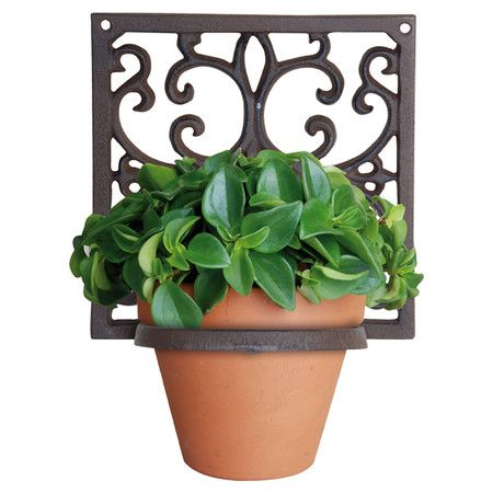 Crafted From Cast Iron This Wall Mounted Plant Holder Features A Square Frame With An Ornate Scrollwork Design Flower Pots Flower Pot Holder Plant Pot Holders
