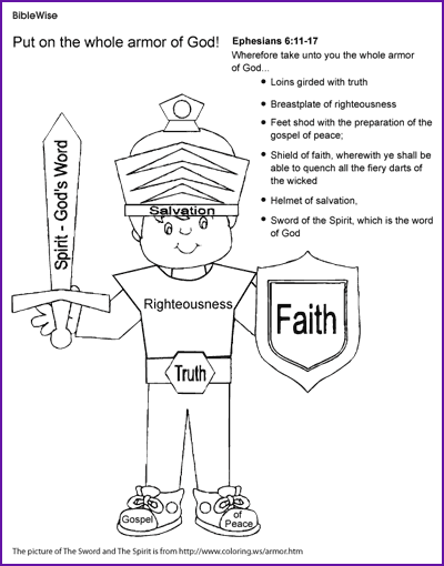 Coloring (The Armor of God, Ephesians) - Kids Korner - BibleWise ...