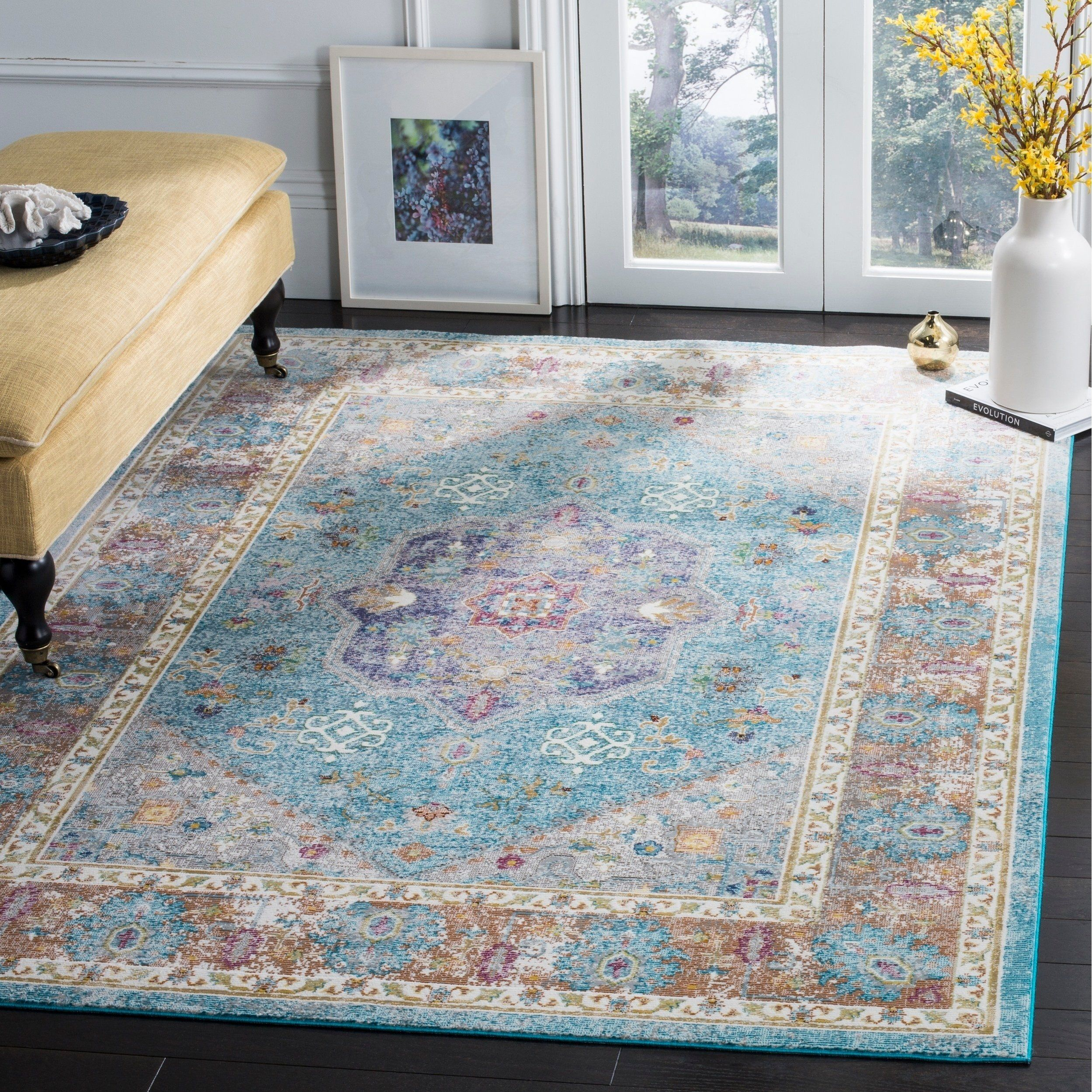 Safavieh Aria Vintage Oriental Blue Creme Rug 10 X 14 10 X 14 Blue Creme Traditional Area Rugs Area Rugs Blue Area Rugs