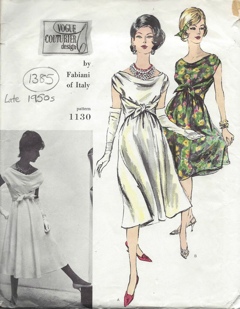 1950s Vintage VOGUE Sewing Pattern B32 DRESS (1385) By Fabiani of ...