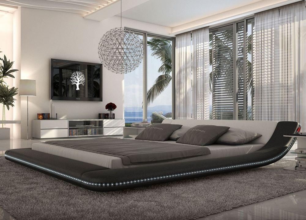 Modern Black Platform Bed With Led Lighting Queen Size For Bedroom