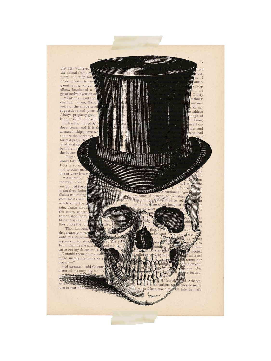 Halloween skull decorations - Halloween Decorations Skull Dictionary Art Vintage Skull With Top Hat Print Book Page Print