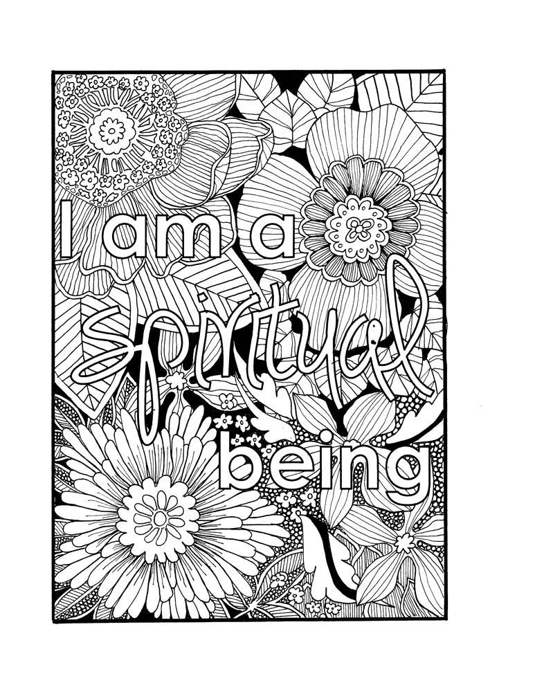 I Am a Spiritual Being Self Affirmation Adult Coloring Page