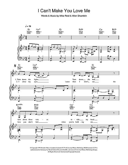 I Cant Make You Love Me Sheet Music Piano Pinterest Sheet