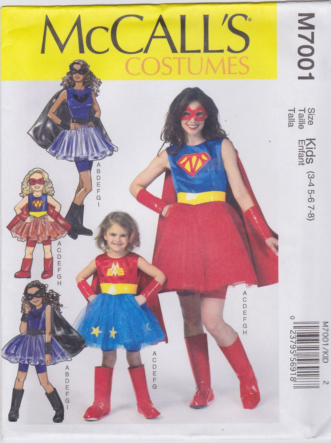 McCall\'s Sewing Pattern M7001 Misses\'/Girls\' Super Hero Costumes New ...