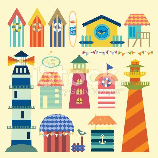 Beach huts ornaments royalty-free stock vector art