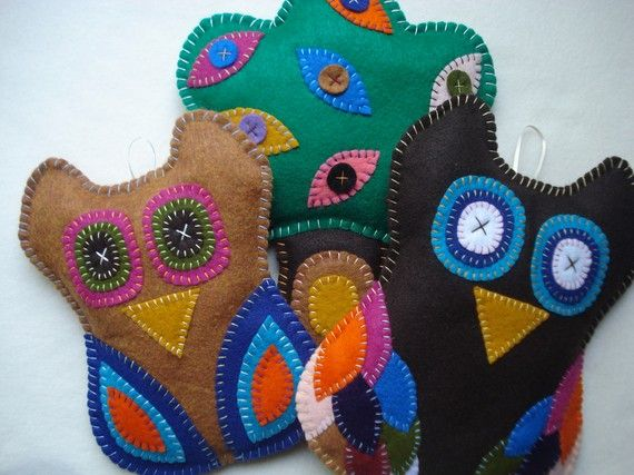 Plush Owls and Tree Wall Hangings  Great for by sewwhimsycreations, $27.50
