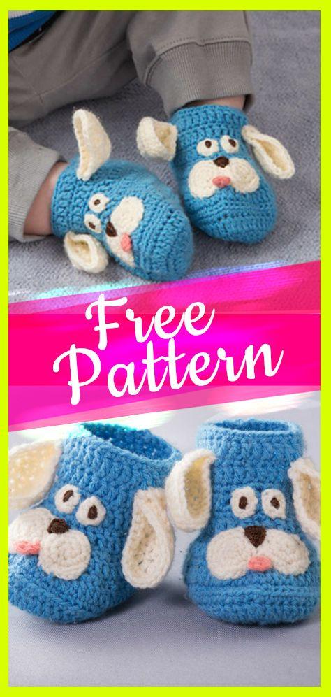 Crochet Pattern Happy Puppy Baby Slippers   Häkeln baby ...