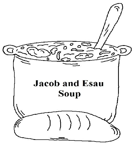 Jacob and Esau Soup Coloring Page for kids by Church House