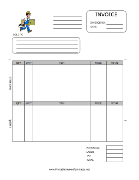 A Printable Invoice For Use By The Carpentry Industry Featuring A Full Color Graphic Of A Carpenter W Printable Invoice Invoice Template Invoice Template Word