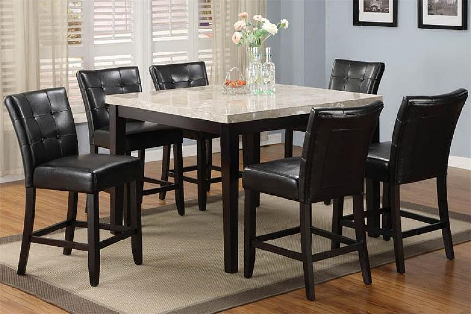 Kitchen Black Leather Dining Chairs Marble Counter Table Modern